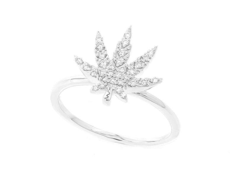 Weed Leaf Ring 14K   0.14ctw