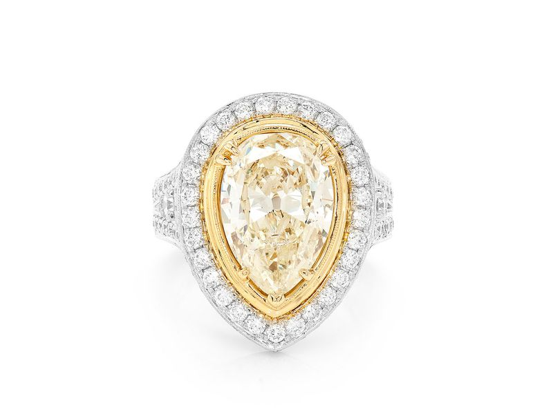 Pear Shaped Halo Split Shank Ring 14K   6.00ctw