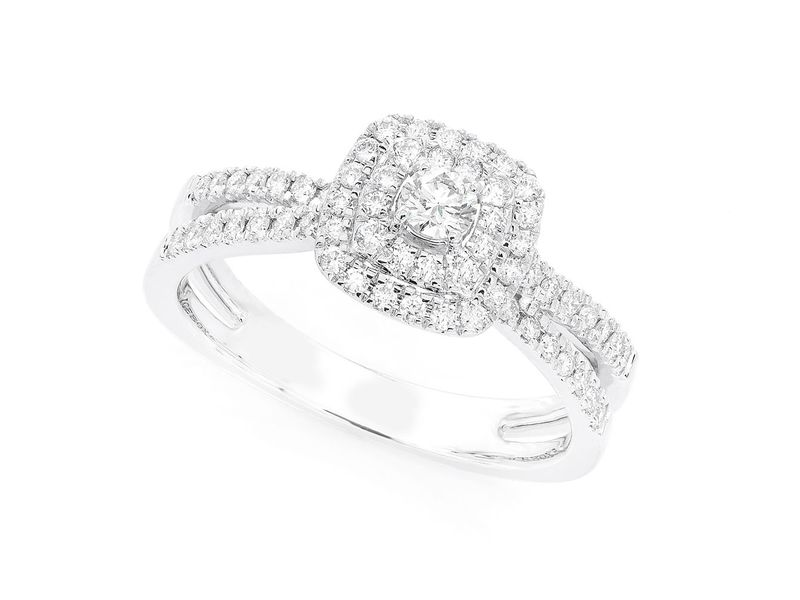 Double Band Three Layer Square Engagement Ring 14K   0.51ctw