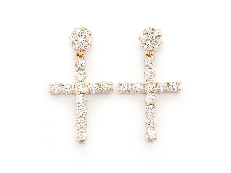 Dangling Cross Earrings 14K   1.25ctw