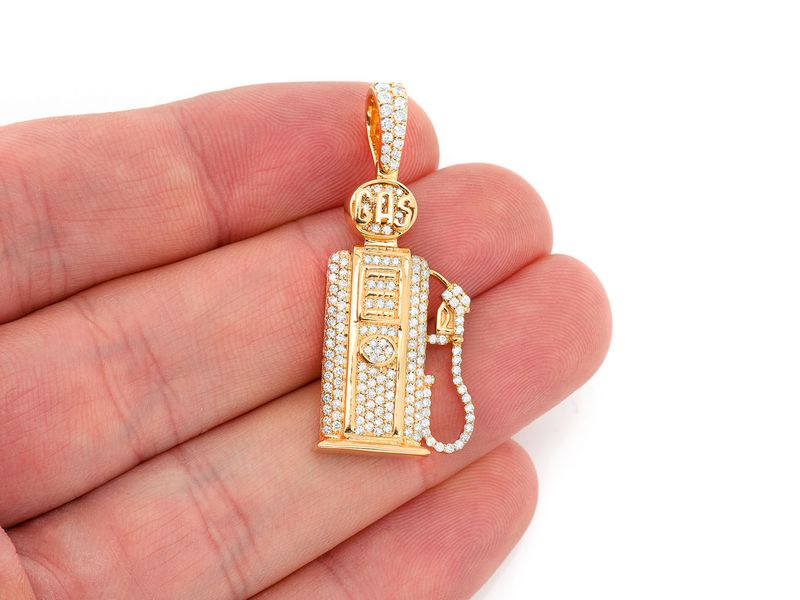 Full Gas Pump Pendant 14K   1.16ctw