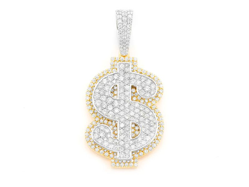 Dollar Sign Double Layer Pendant 14K   4.31ctw