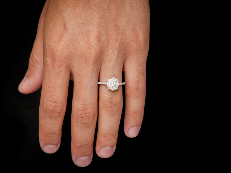 Single Band Flower Engagement Ring 14K   0.52ctw