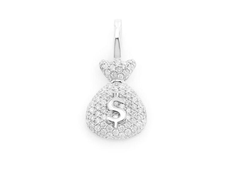 Money Bag Pendant 14K   0.33ctw