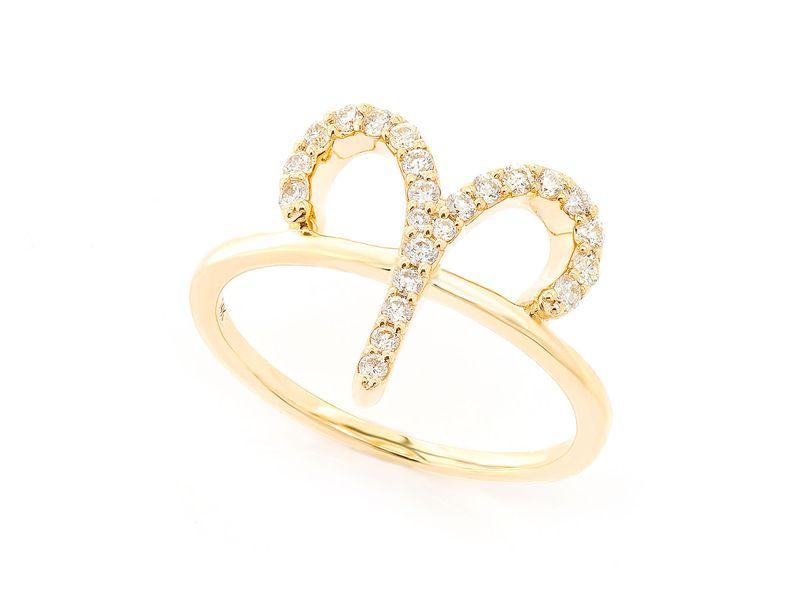 Aries Zodiac Ring 14K   0.22ctw