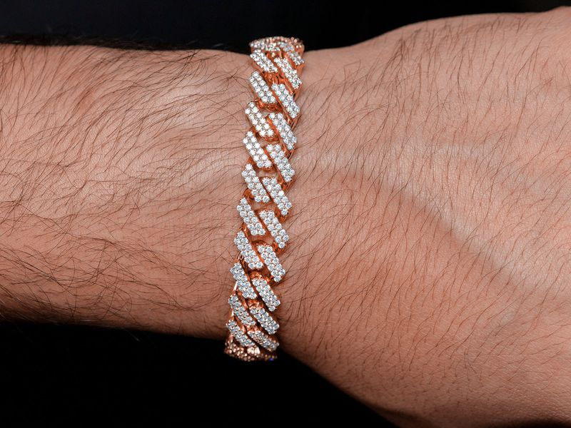 12mm Jagged Cuban Bracelet 14K   8.41ctw
