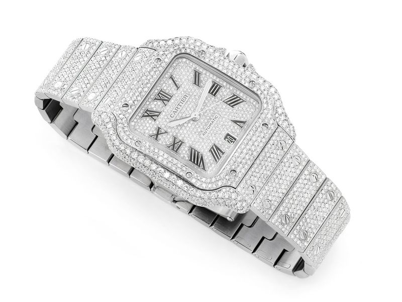 Pre-owned Icebox Cartier Santos 38mm Stainless  7.50ctw