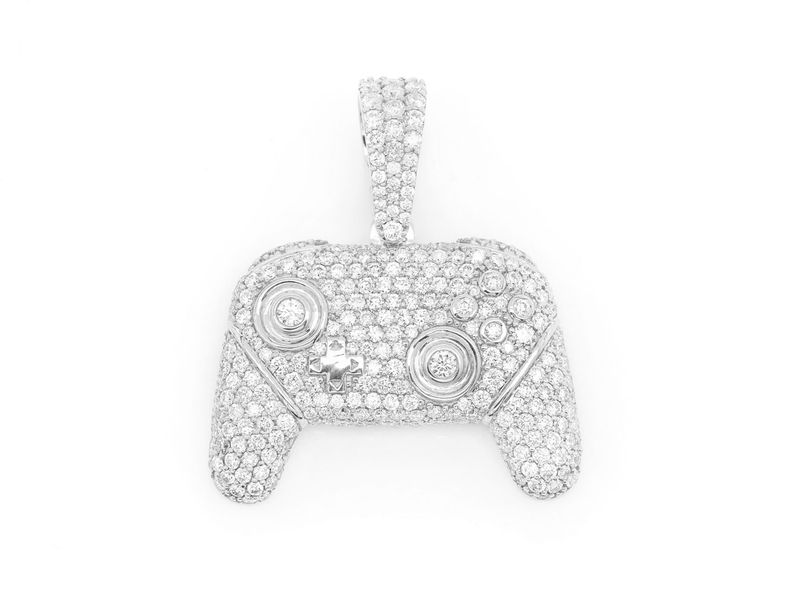 Video Game Controller Pendant 14K   3.00ctw