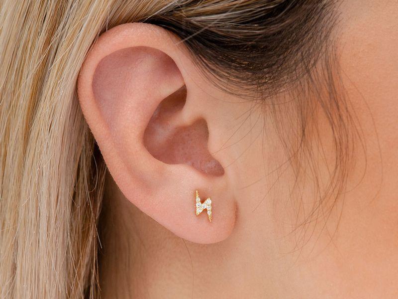 Mini Lightning Bolt Earrings 14K   0.11ctw