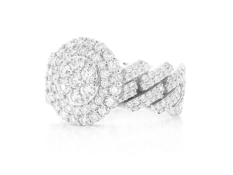 Double Halo Cuban Ring 14K   3.47ctw