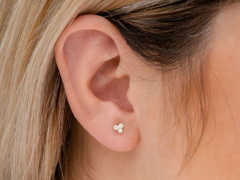 3 Stone Stud Earrings 14K   0.19ctw