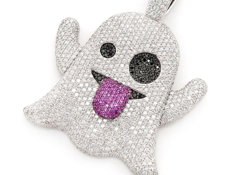 Ghost Emoji Pendant 14K  8.35ctw