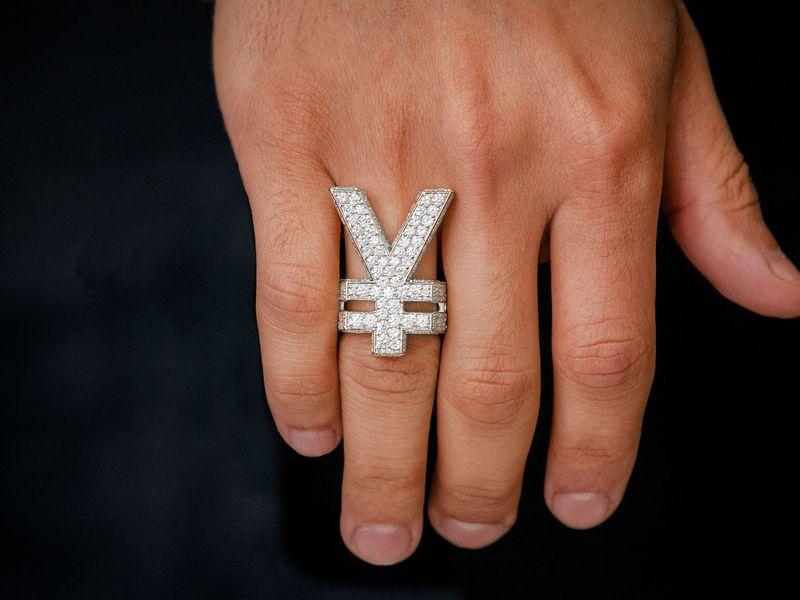 Yen Symbol Signet Ring 14K   8.69ctw