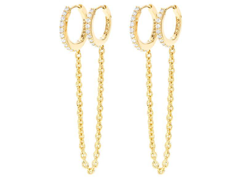 Double Pierced Huggie Hoop Earrings 14K   0.45ctw