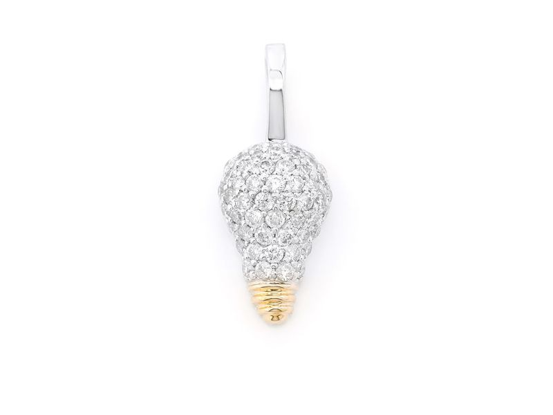 Light Bulb Pendant 14K   0.50ctw