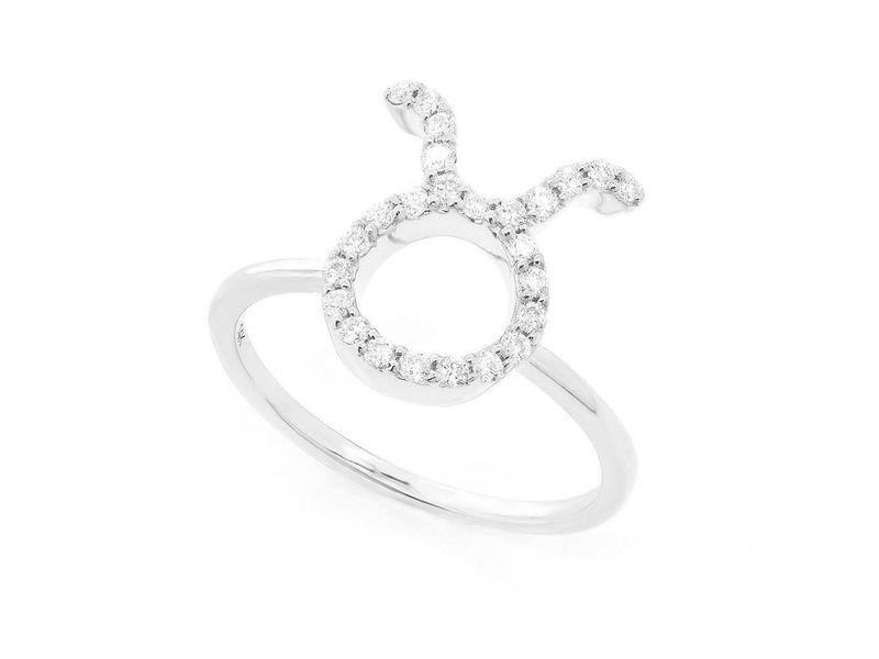 Taurus Zodiac Ring 14K   0.12ctw