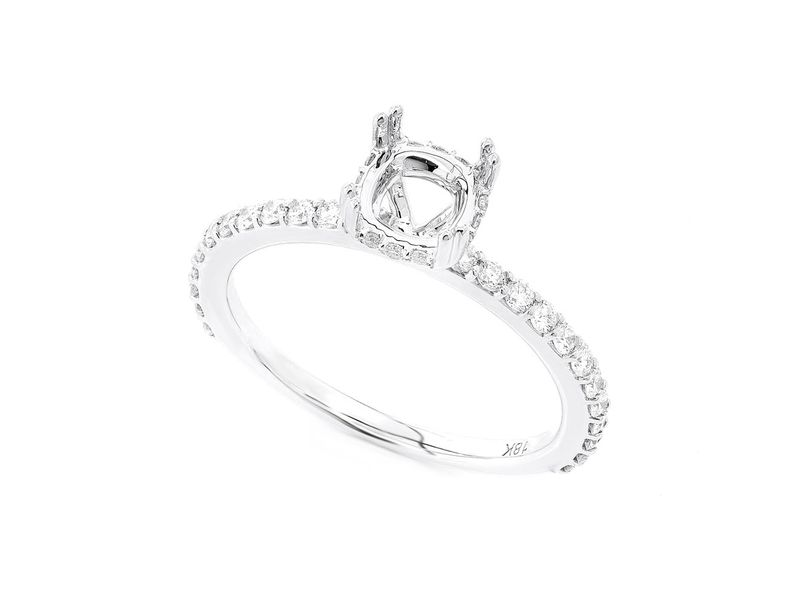 Cushion Cut Under Halo Diamond Semi Mount Ring 18K   0.41ctw