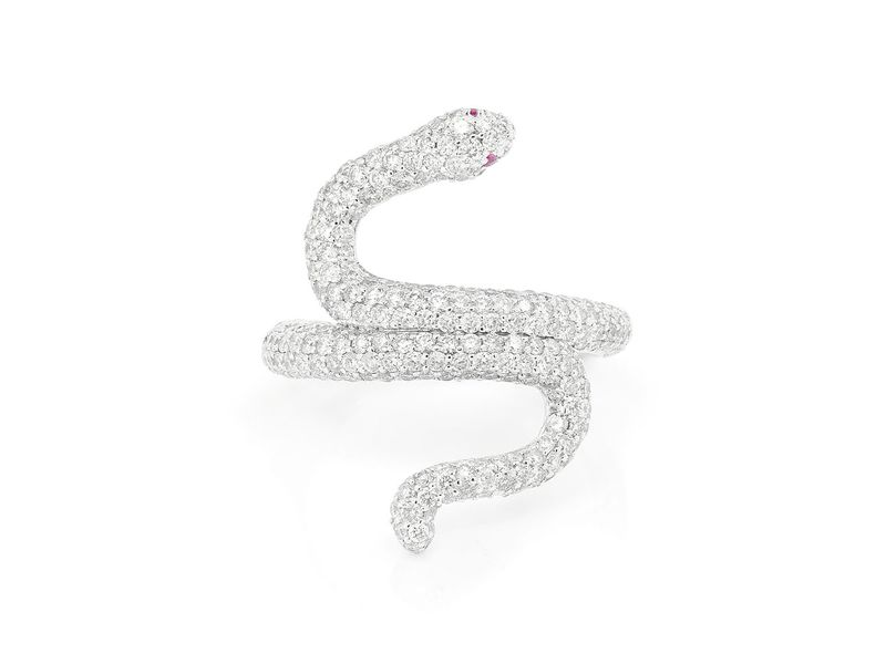 Taris Snake Ring 14K   2.12ctw