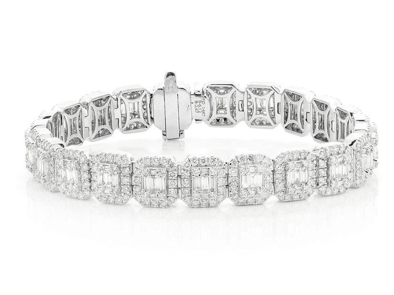Halo Baguette  Bracelet 14K   8.58ctw