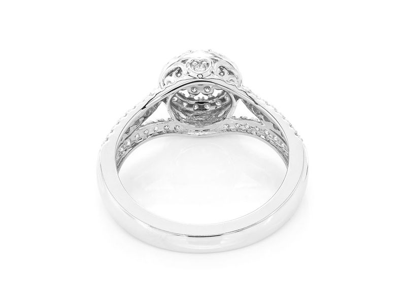 Round Double Halo Ring 14K   0.74ctw