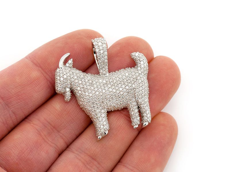 Full Body Goat Pendant 14K   3.92ctw
