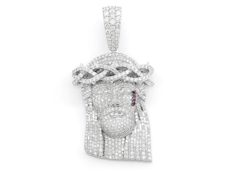Jesus Piece Full Diamond Med Pendant 14K   5.70ctw