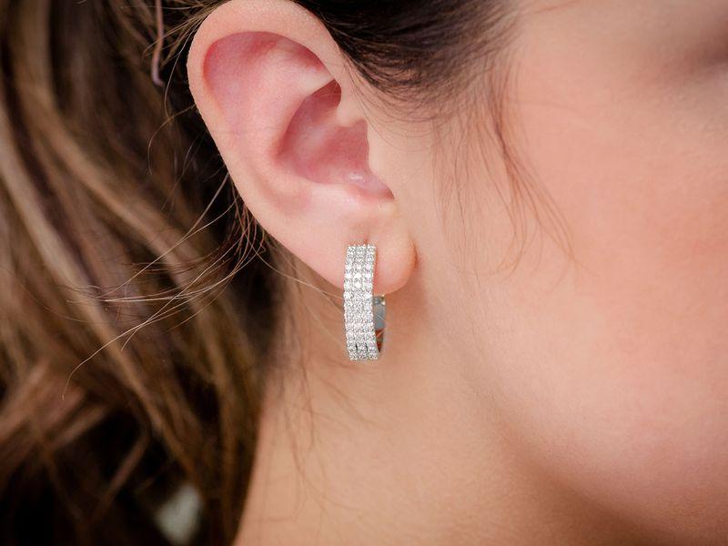 3 Row Huggie Hoop Extra Large Earrings 14K   1.75ctw