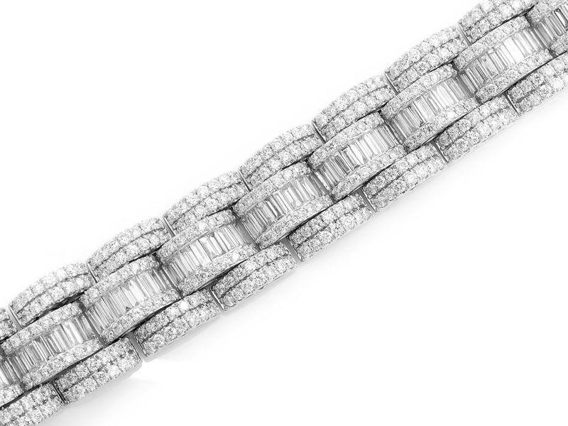 Baguette Center & Round Link Bracelet 14K   27.09ctw