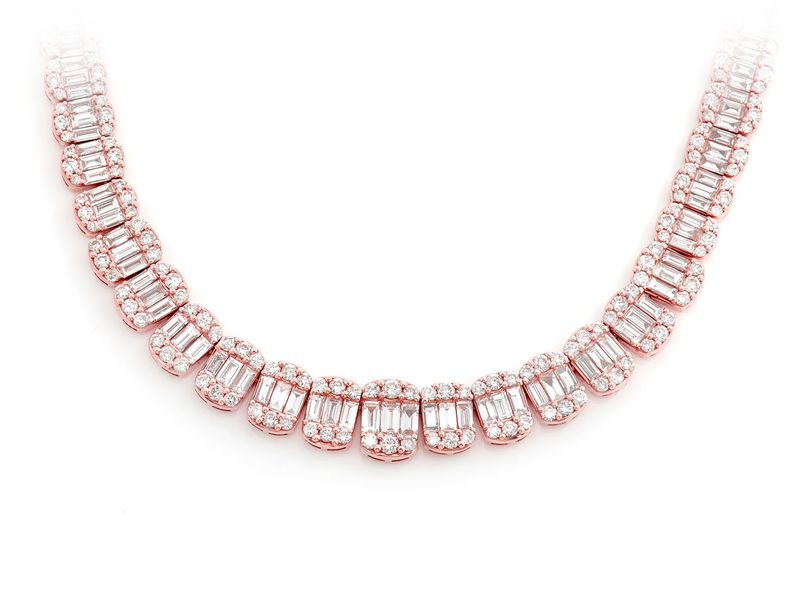 Graduated Oval Baguette Necklace 14K   21.90ctw