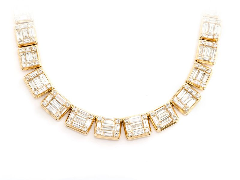 Graduated Square Baguette Necklace 14K   17.75ctw