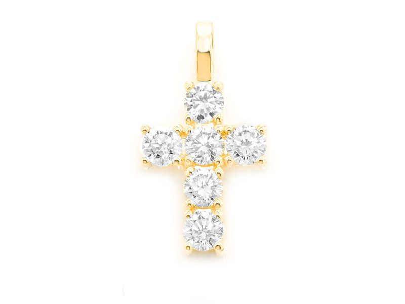 Extra Large Rocks Cross Pendant 14K   1.79ctw