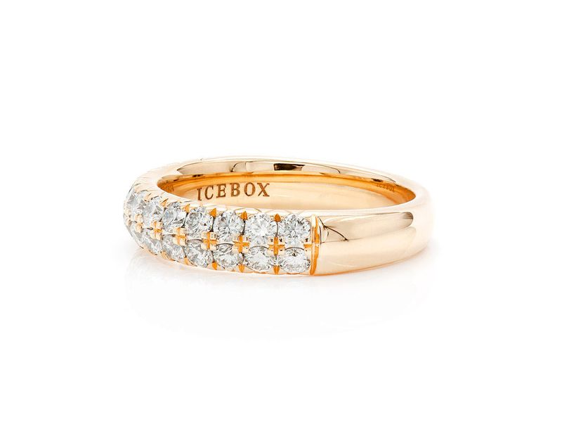Two Row Ring 18K   1.00ctw