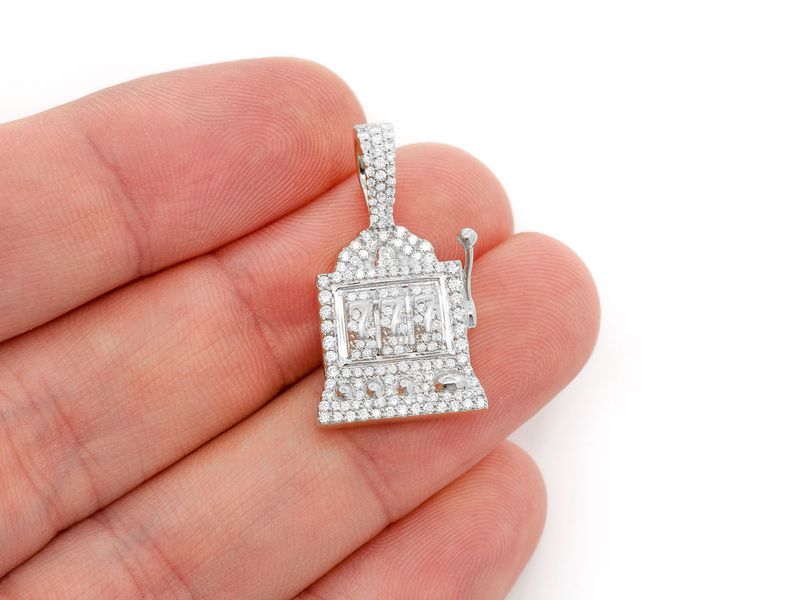 Noisy Slot Machine Pendant 14K   0.66ctw