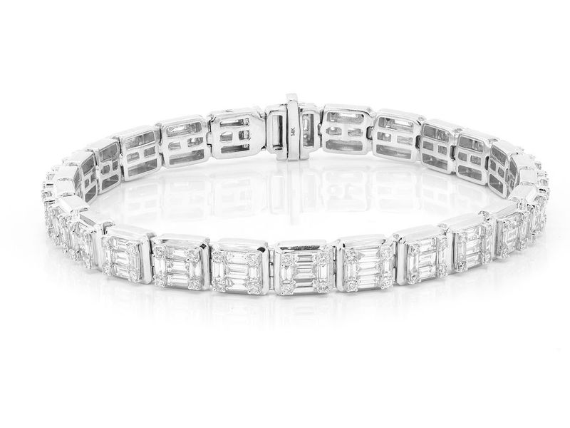 Baguette Square Link Bracelet 14K   9.75ctw