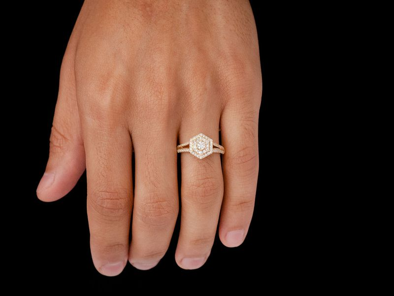 Hexagon Double Halo W/ Split Shank Ring 14K   0.74ctw
