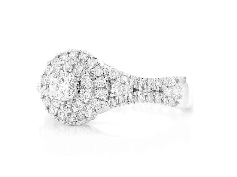 Round Two Tier Halo Ring 14K   0.77ctw