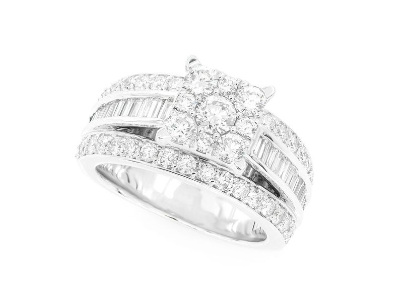 Cathedral Channel Baguette Engagement  Ring 14K   2.02ctw