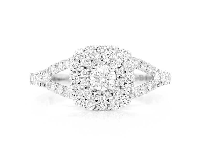 Cushion Double Halo Ring 14K   0.77ctw