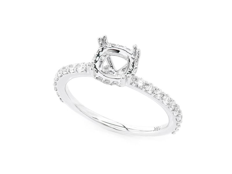 Cushion Cut Under Halo Diamond Semi Mount Ring 18K   0.50ctw