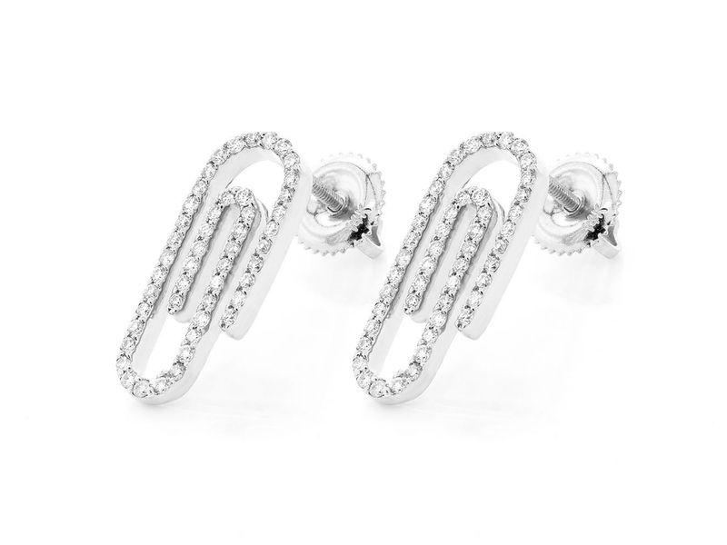 Small Paper Clip Earrings 14K   0.46ctw