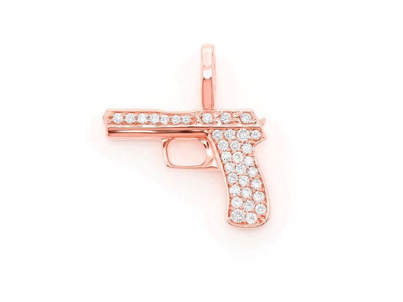 Handgun Pendant 14K   0.22ctw