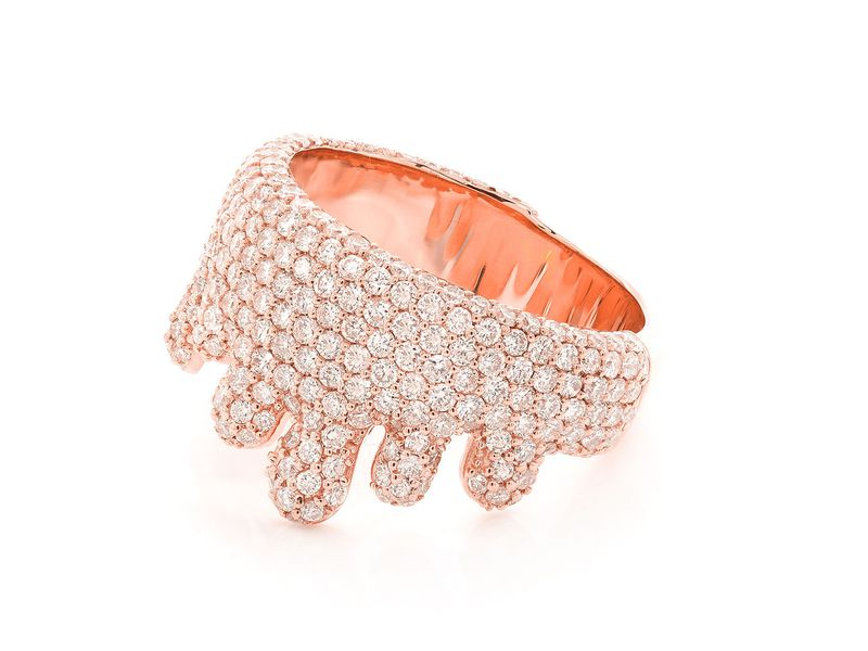Dripping Bubbly Pave  Ring 14K   2.61ctw