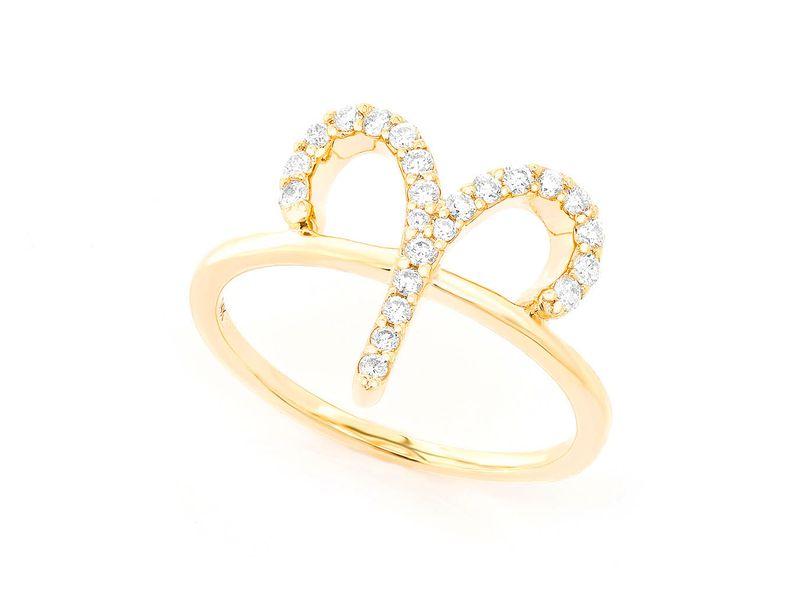 Aries Zodiac Ring 14K   0.10ctw