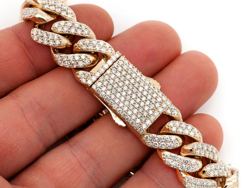 Diamond Cuban Bracelet 14K   12.47ctw
