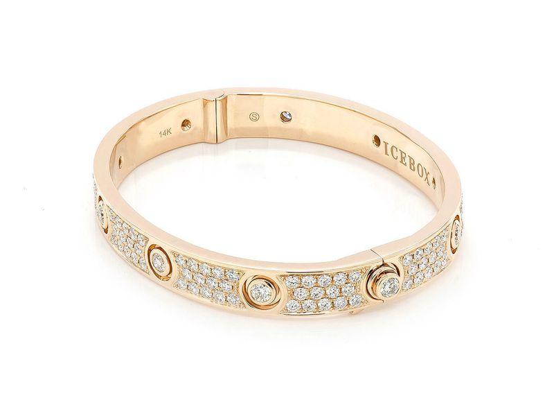 Small Signature Bangle Full Diamond Bracelet 14K   4.77ctw
