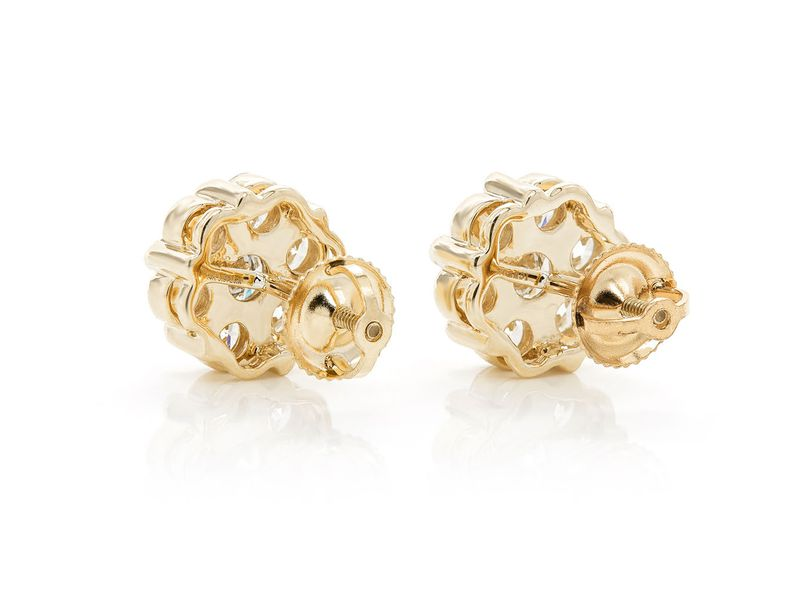 Round Flower Stud Earrings 14K   1.00ctw