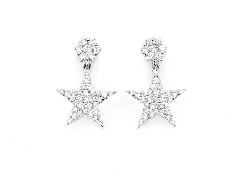 5 Point Star Dangling Earrings 14K   0.72ctw
