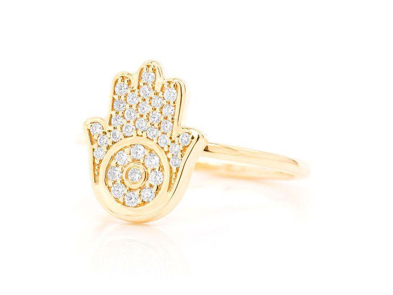 Hamsa Promise Ring 14K   0.20ctw