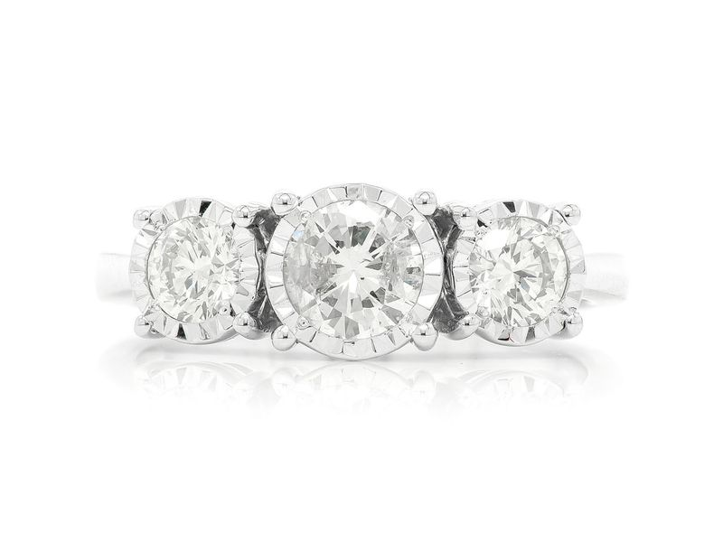 3 Stone Miracle Set Ring 14K   1.00ctw