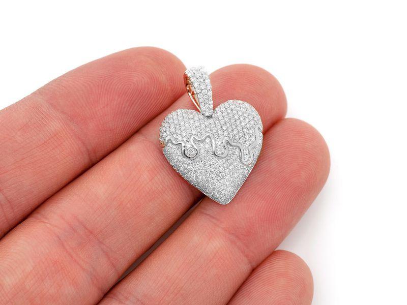 Dripping Heart Pendant 14K   1.52ctw